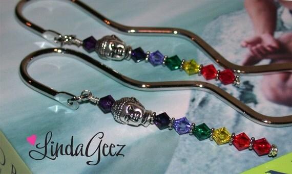 Peaceful Buddha Bookmark, Chakras in Harmony Bookmark, Cookbook Marker, Peace, Swarovski Crystal Bookmark, Zen Bookmark by LindaGeez