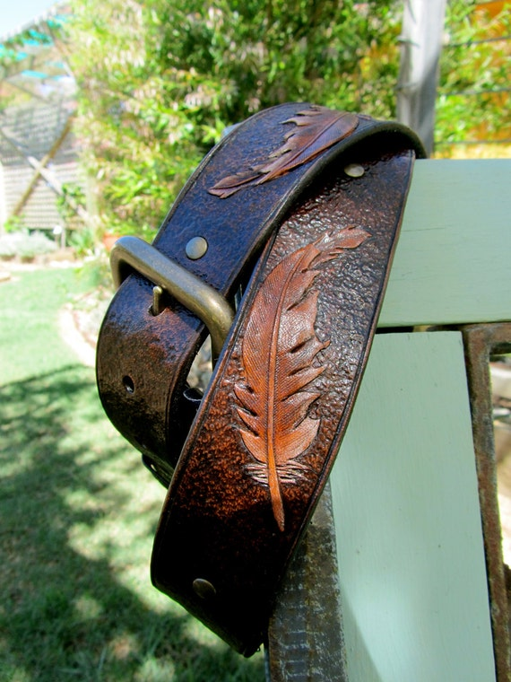 Falling Feather. Handmade Leather Belt. Unisex. Man. Womens. One of a kind.
