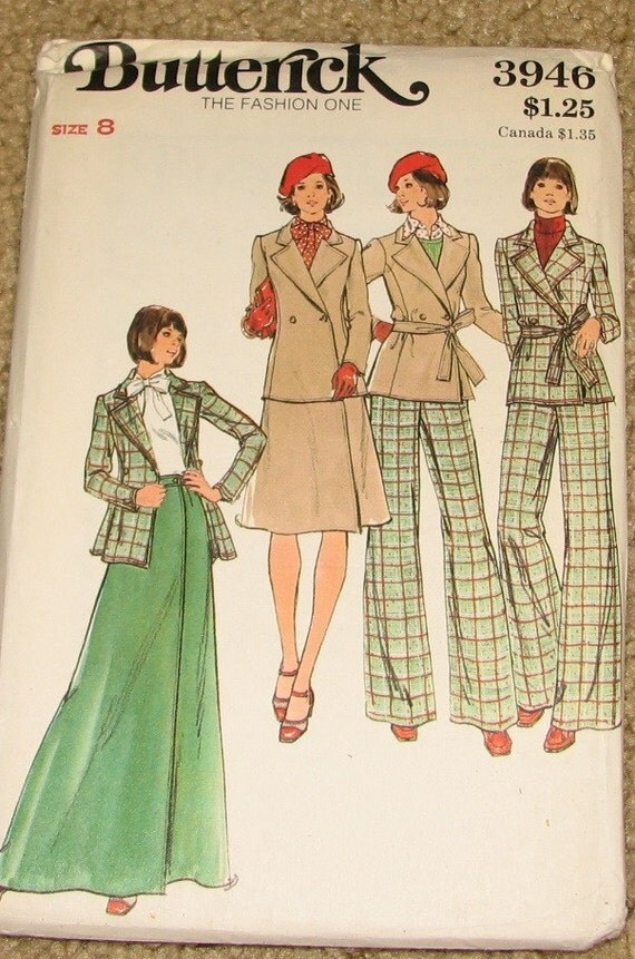 Women's Double Breasted Jacket, A-line Skirt, Pants 1970s Vintage Sewing Pattern BUTTERICK 3946, UNCUT