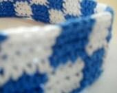 Check Headband Crochet Cotton Blue White School Colors