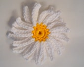 Crochet Gerbera Daisy White and Gold Cotton Flower Accessory