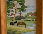Vintage Paint By Number farm with Horses in wooden Frame