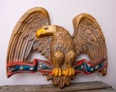 Vintage Chalkware Eagle on red white blue stripes with stars Patriotic Americana gold brown feathers