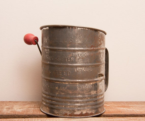 Vintage Flour Sifter Bromwells 3 cup antique farm house decor country kitchen home