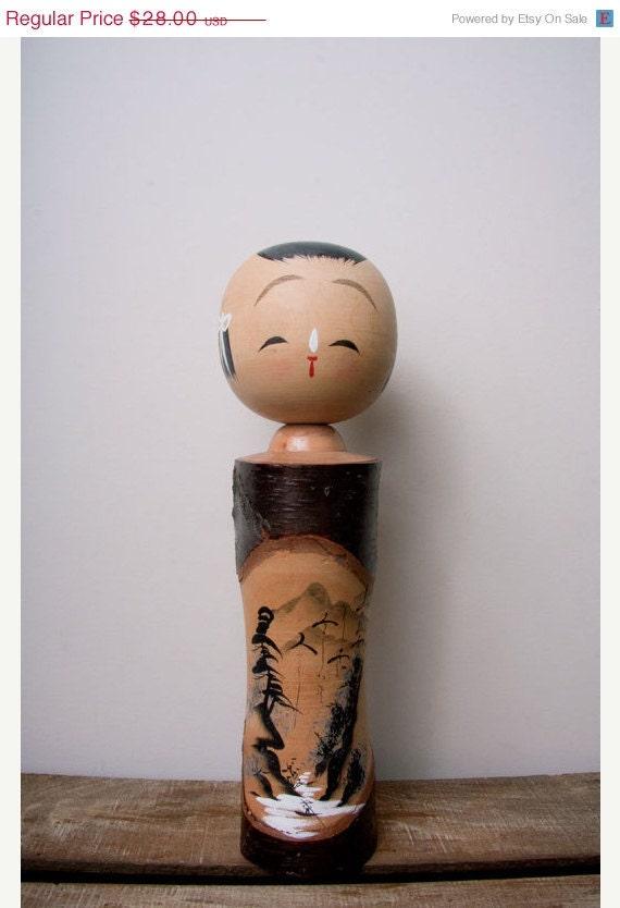 SALE kokeshi doll japan female-girl wooden vintage handpainted Black Friday Etsy Cyber Monday Etsy