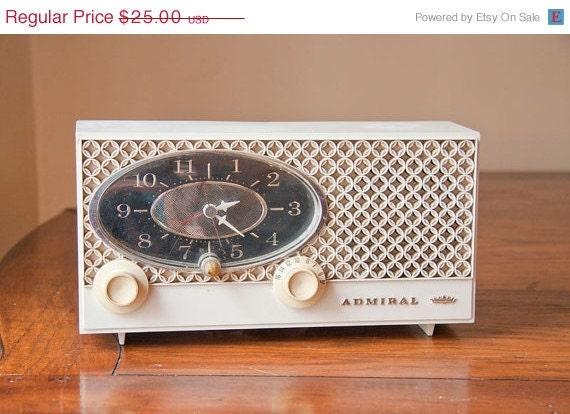 On Sale Vintage Admiral Clock Radio in White retro home decor piece fancy shabby chic mod