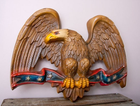 Vintage Chalkware Eagle On Red White Blue Stripes With Stars
