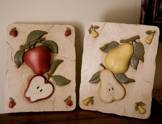 Fruit Kitchen Decor Vintage Fruit Plaques Apple And By