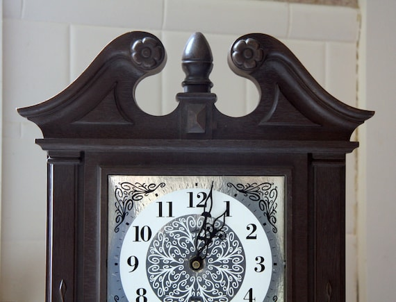 Grandfather Clock table top Vintage very nice makes GONG on the hour USA made mantle clock On Sale