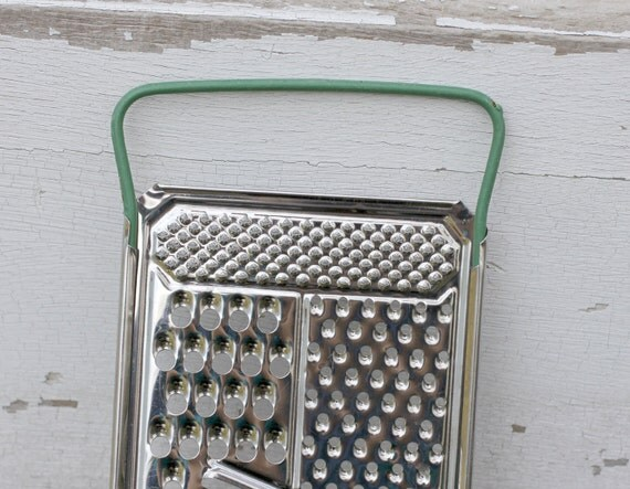 Cheese Food Grater Stainless Steel Vintage farmhouse decor green handle Black Friday Etsy