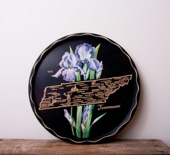 Tenessee metal tray vintage black  state and words serving or display lavender purple