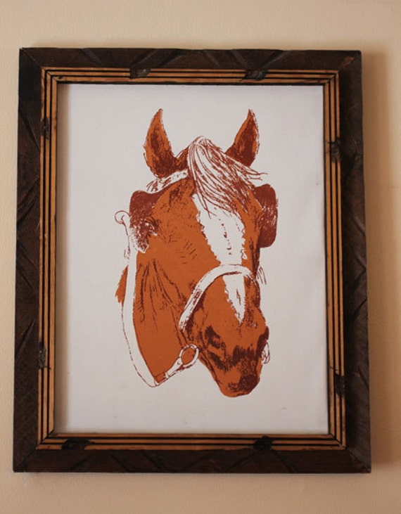 Vintage Horse Wall Art frame rustic primitive made in mexico country western kenutcky derby horse lover