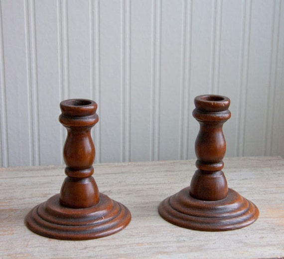 vintage Wood Wooden Candlesticks candle stick holders Simple farmhouse thanksgiving table