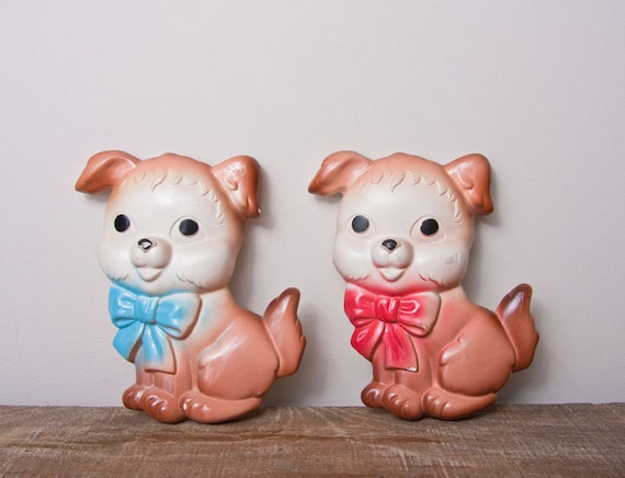 Nursery Decor Vintage chalkware dog  puppies 2 red bow and blue bow kitsch home decor
