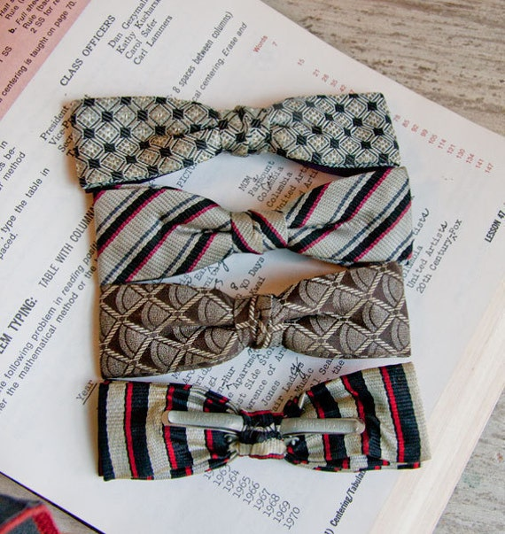 Vintage Bow Ties set of 4 clip on 1950s gray red brown Classic set Made USA fall fashion