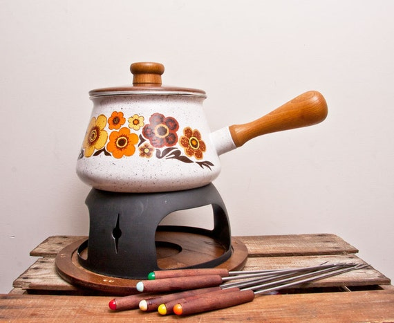 Vintage Fondue Enamel pot 10 piece set white enamel with wood and chocolate brown orange flowers hippie wedding Gift for the couple