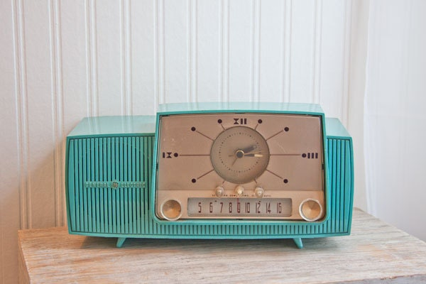 1950s Vintage Clock Radio Turquoise General Electric GE retro