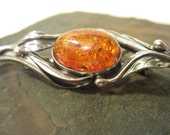 Sterling Silver AMBER Art Nouveau Brooch PIN