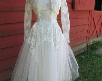 On Sale Vintage  Wedding, 50s 1960s 1950s Jackie O lace Tulle Sweetheart Cupcake 2 peice Dress & shrug Jacket, Pearls, Rhinestones