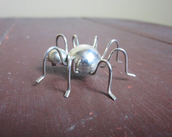 Vintage Sterling Silver SPIDER Mexico Pin Brooch Daddy long legs
