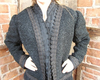 On Sale Victorian Lamb Coat Jacket Steampunk Silk Lined Corded Trim V back Turn of the Century
