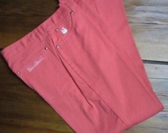 Vintage 1980's Vibrant Orange Pinkish CORAL Gloria Vanderbilt Jeans NOS size 14