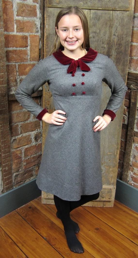 Vintage 1960s Preppy School Girl Dress Secretary Empire Waist