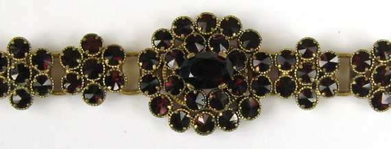 Antique Bohemian Garnet Czech czechoslovakia Floral Motif Bracelet