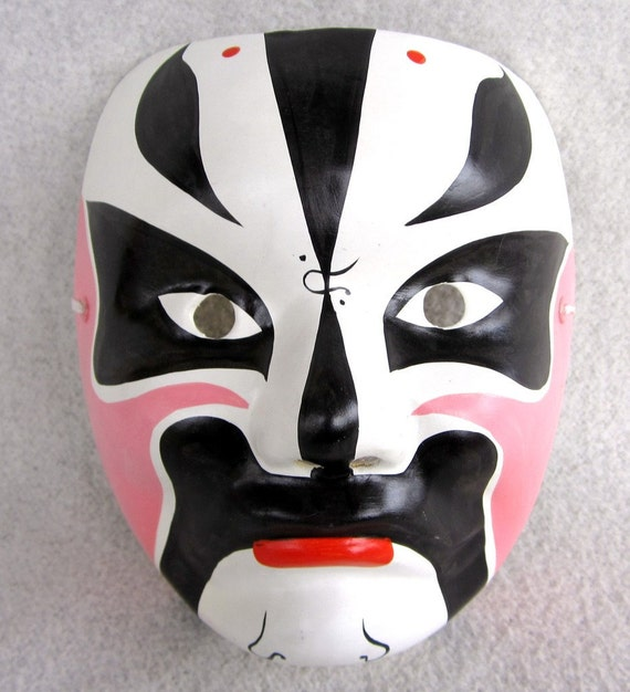 Mask Japan Halloween or Mardi Gras Paper Mache Decor by MISSIONMOD