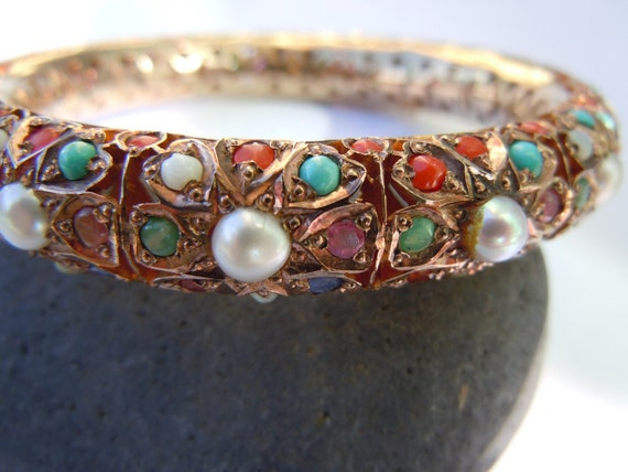 10K GOLD GEM Encrusted Russian/Persian Bangle Bracelet Pearls, Turquoise, Rubies, Coral, Emeralds 10998