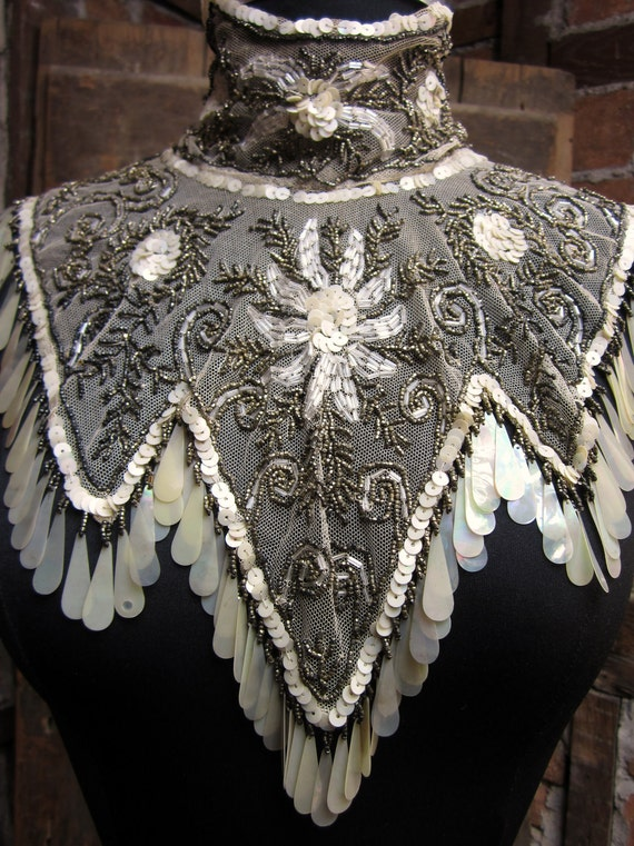 Antique 1900s Victorian Mantle SILVER SEQUINED hand made Beaded Net Lace Collar Stunning aurora borealis 430