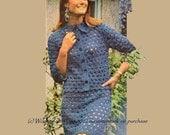 Vintage 1970s Crochet Blue Suit Pattern PDF 359 from WonkyZebra