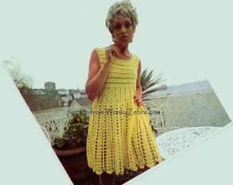 Vintage Crochet PDF Pattern 390 Fluted Goddess Dress from WonkyZebra
