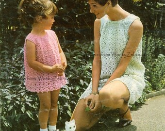 Vintage Crochet Pattern 193 PDF Mother Daughter Yoked Dress from WonkyZebra