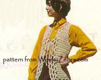 Vintage Crochet Pattern PDF 080 Hippie Waistcoat vest jerkin from WonkyZebra