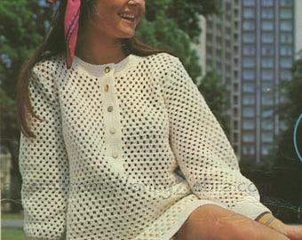 Vintage Crochet Dress Pattern 116 PDF Hilton Dress from WonkyZebra