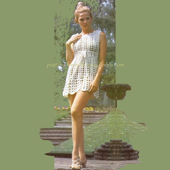 Crochet Dress Pattern PDF Vintage Goddess Dress 169 from WonkyZebra