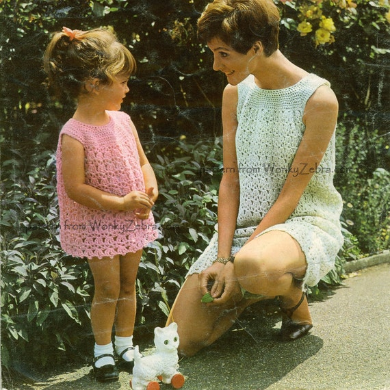 Vintage Crochet Pattern 193 PDF Mother Daughter Yoked Dress from WonkyZebra
