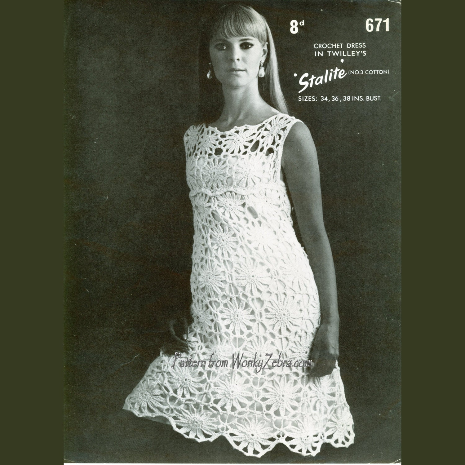 Crochet Dress : Crochet Dress Pattern PDF 059 Vintage Shift Dress by wonkyzebra
