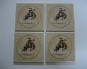 4 Pc Set  4x4 Accent Western Rodeo Cowboy Ceramic Tile Set  MURAL. Kiln Fired - Handcrafted