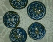 5 Porcelain Buttons Sewing Knitting Journals