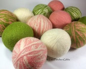 Wool Dryer Balls - Spring Medley Set of 12 - An Eco-Friendly Alternative to the Conventional Dryer Sheet and Fabric Softener! Baby Toys!