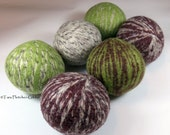 Wool Dryer Balls - Chocolate & Lime Swirl Set of 6 Eco Friendly - Can be Scented or Unscented