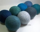 Wool Dryer Balls - Rainy Days - Set of 8 - Eco Friendly - Can be Scented or Unscented
