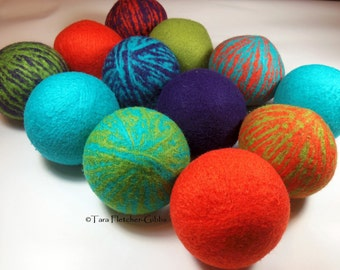 Wool Dryer Balls - Carnival Swirl Set of 12 Eco Friendly - Can be Scented or Unscented