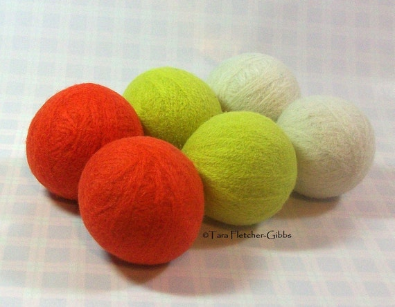 Wool Dryer Balls - Candy Corn - Set of 6 - An Eco-Friendly Alternative to the Conventional Dryer Sheet and Fabric Softener! Halloween Gift!
