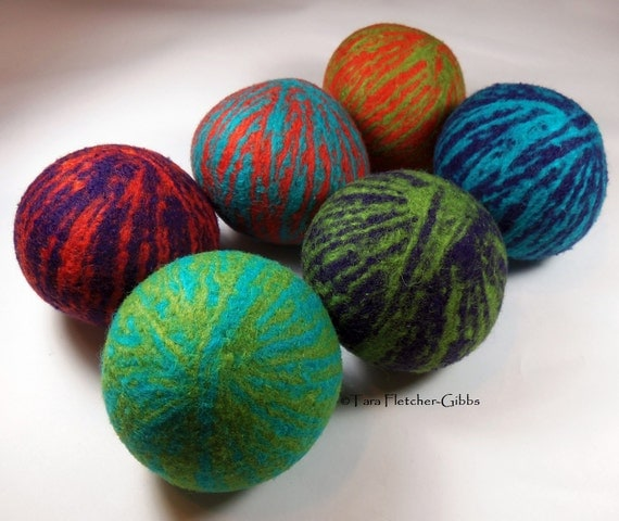 Wool Dryer Balls - Carnival Swirl - Set of 6 Eco Friendly - Can be Scented or Unscented