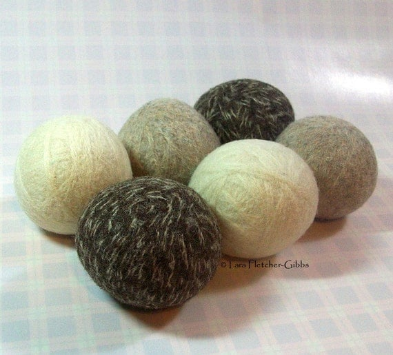 Wool Dryer Balls - Natural Colors - Set of 6 - An Eco-Friendly Alternative to the Conventional Dryer Sheet and Fabric Softener! Massage Ball