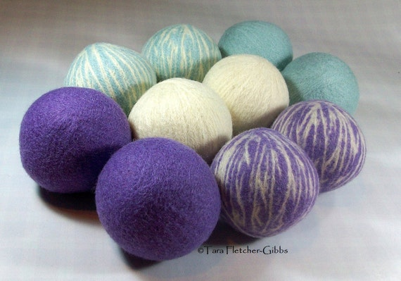 Wool Dryer Balls - Dreamy Swirl - Set of 10 Eco Friendly - Can be Scented or Unscented