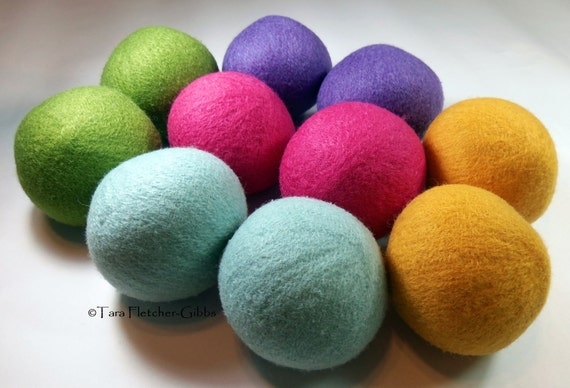 Wool Dryer Balls - Bright Spring - Set of 10 Eco Friendly - Can be Scented or Unscented